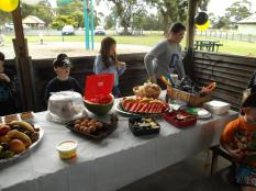 """The """"spread"""" of a Pirate Party thrown in 2012, we ate what pirates ate, or as close as we could get it, Fruit, pickled onions and cucumber, Dried meats and BBQ Chidken with Cackle fruit (Boiled Eggs) Cheese and Salsa's"""