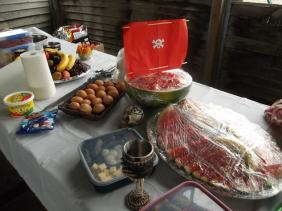 "The ""spread"" of a Pirate Party thrown in 2012, we ate what pirates ate, or as close as we could get it, Fruit, pickled onions and cucumber, Dried meats and BBQ Chidken with Cackle fruit (Boiled Eggs) Cheese and Salsa's"